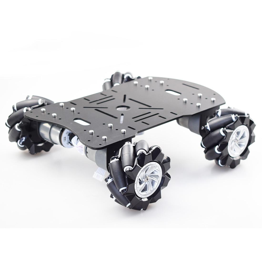 80mm Mecanum Acrylic Platform Kit DIY Omni-Directional Mecanum Wheel Robot Car Without Electronic Control - Black