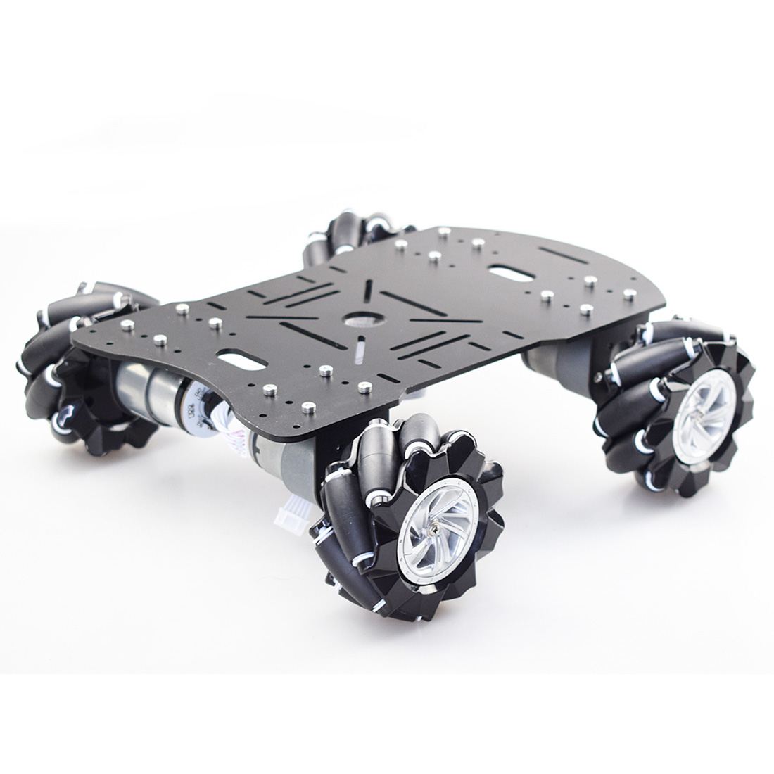 New 80mm Mecanum Acrylic Platform Kit DIY Omni-Directional Mecanum Wheel Robot Car Without Electronic Control - Black