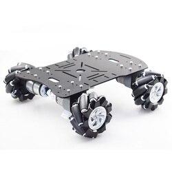 Nuevo Kit de plataforma acrílica Mecanum de 80mm, coche Robot de rueda omnidireccional Mecanum sin Control electrónico, negro