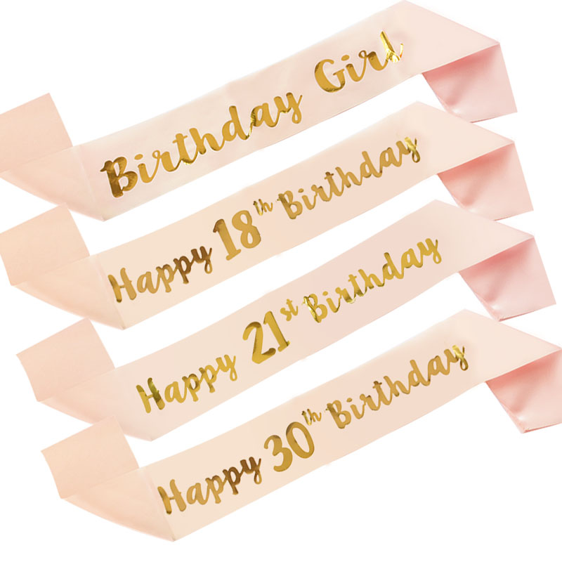 Birthday Girl Sash Happy Birthday 18th 21th 30th 40th 50th Years Old Abult Anniversary Party Satin Sash Sign Decorations