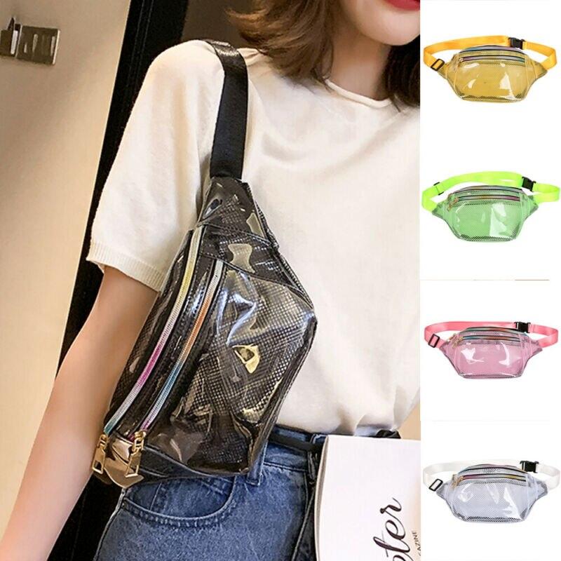 Women's Transparent Mesh Chest Waist Bag Lady Fashion Versatile Simple Style Chic Zipper Ladies Crossbody Phone Bag Fanny Packs