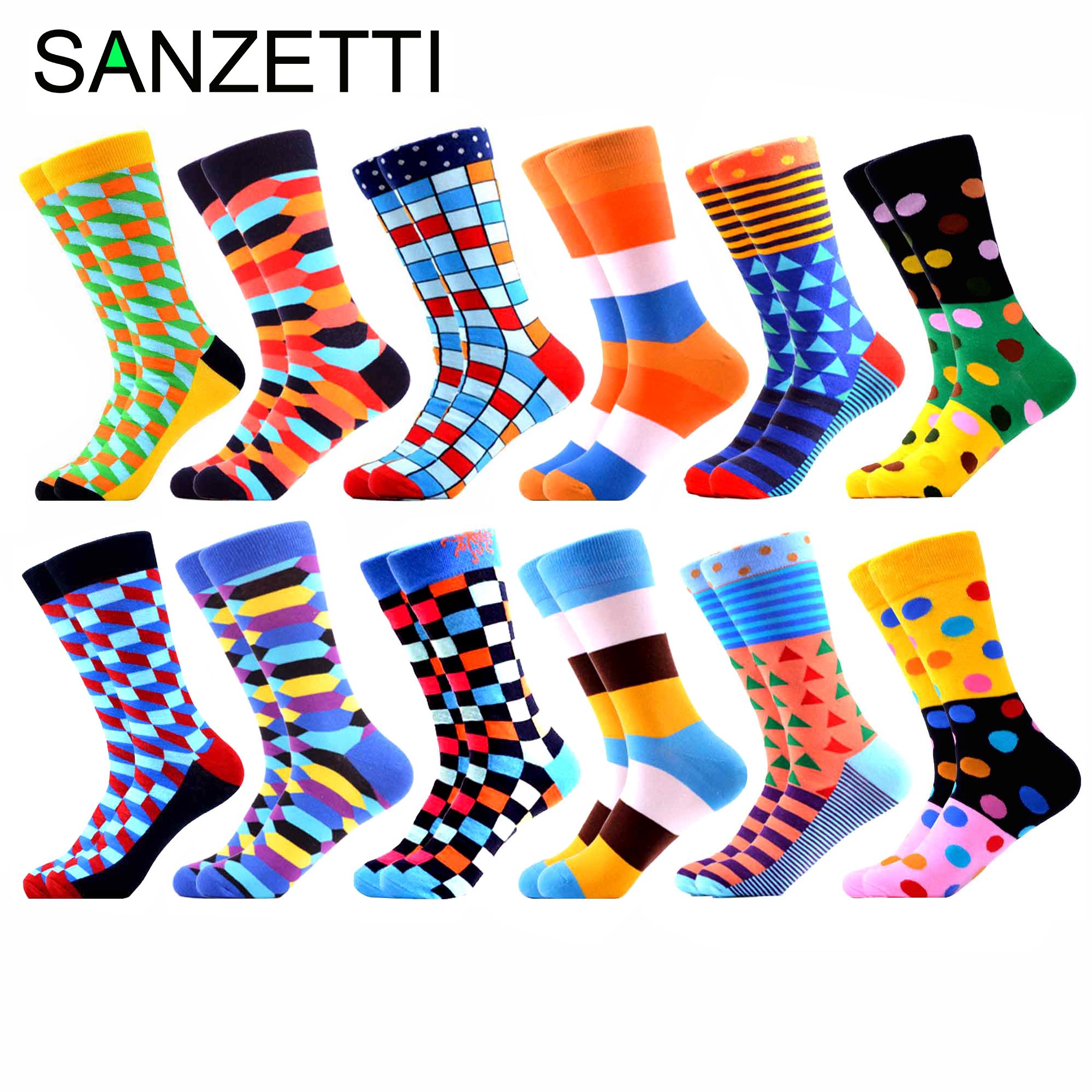 SANZETTI 12 Pairs/Lot Men Colorful Combed Cotton Funny Crew Socks High Quality Streetwear Style Socks Novelty Gift Happpy Socks