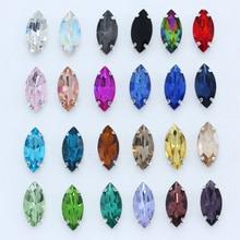 30p 4x8 мм Наветт Швейные стеклянные стразы камень с плоским основанием Пришивные хрустальные стразы Montees Серебряная кнопка для украшения одежды