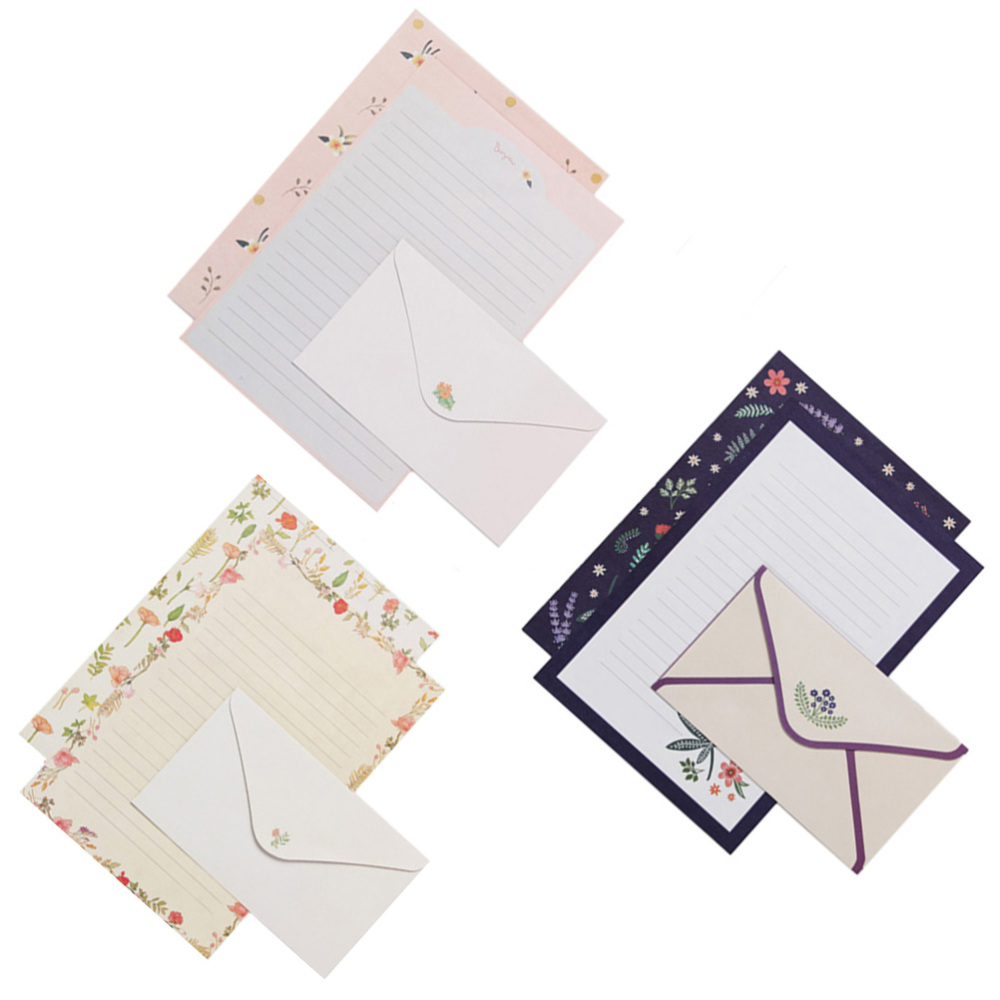 6 Sets of Letter Papers Simple Colorful Beautiful Flower Printing Letter Papers