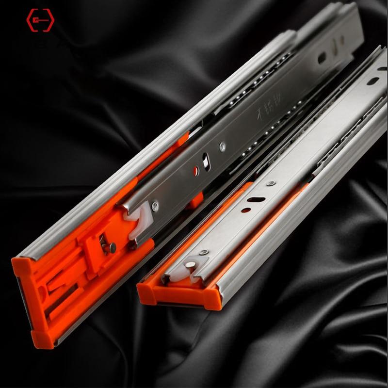 "LBA Furniture Hardware Drawer Slides Stainless Steel 10""-20"" Soft Close Drawer Track Rail Sliding Three-Section Cabinet Slide"