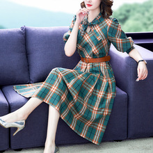 2019 autumn and spring office lady female women girls brand Half sleeve plaid dress clothing