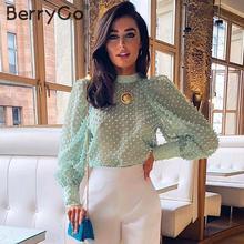 BerryGo Elegant floral embroidery blouse shirt women Streetwear chiffon ladies blouses Turtleneck puff sleeve female  blouse top