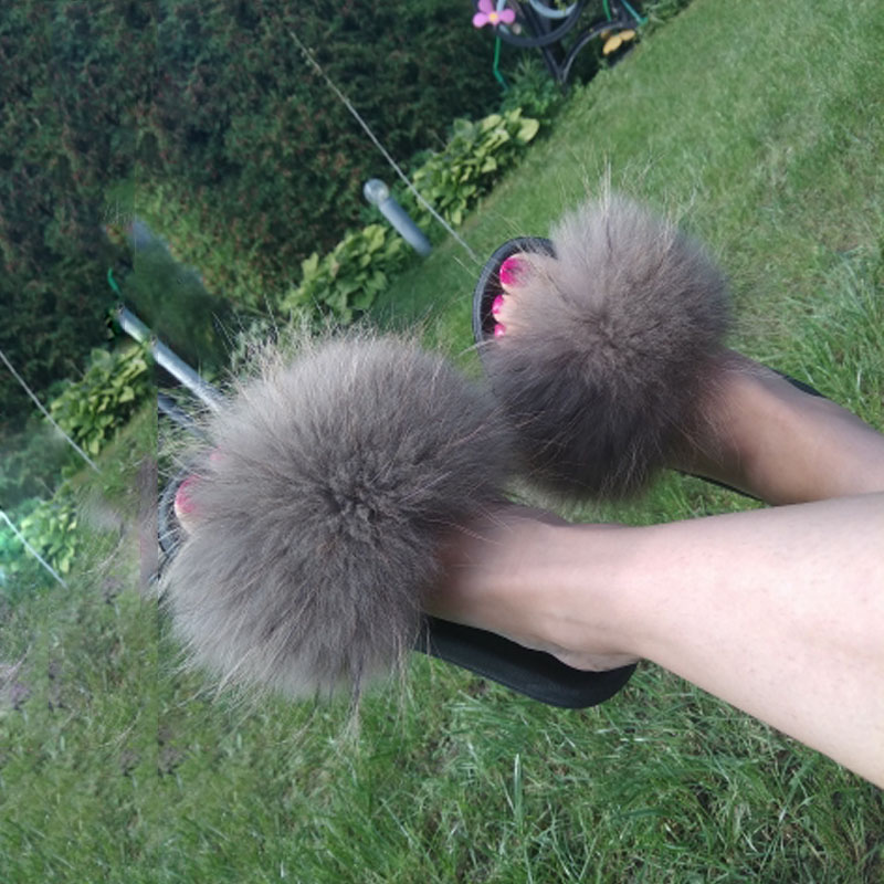 Summer Slippers Woman Fur Sandals Real Fox Fur Slippers Furry Fluffy Slides Ladies Slipper Fashion Sexy Furry Slides Fur Loafers