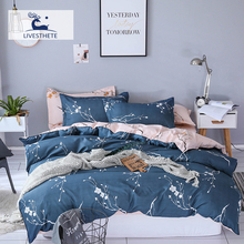 Liv-Esthete Fashion Plum Blossom Blue Bedding Set Soft Printed Duvet Cover Pillowcase Double Queen King Bed Linen Flat Sheet