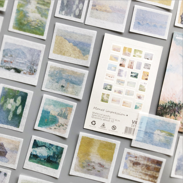 50 Pcs/pack The Monet Impression Painting Washi Stckers Set DIY Bullet Journal Sticker Diary Decorative Stationery Scrapbooking