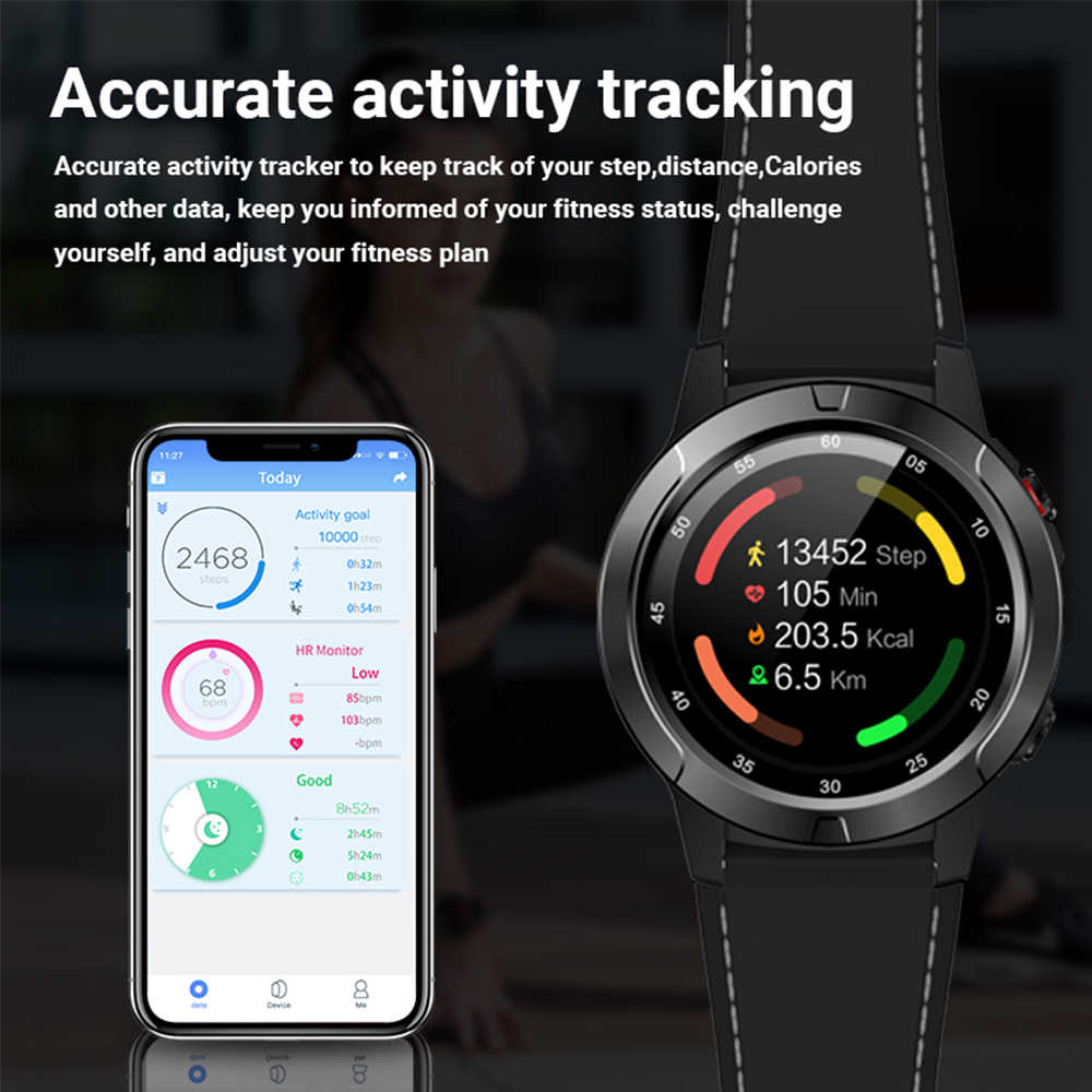 Makibes M4 ساعة ذكية البوصلة متعدد اللغات لتحديد المواقع الرجال الرياضة مراقب معدل ضربات القلب دعوة رسالة تذكير النشاط جهاز تعقب للياقة البدنية