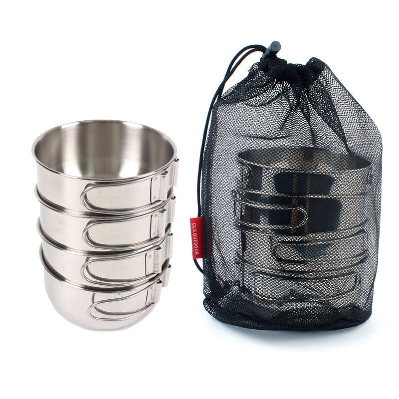 4Pcs/Set Outdoor Stainless Steel Bowl 500Ml Cookware Cutlery Cooking Pots For Camping Hiking Travel Fishing Picnic