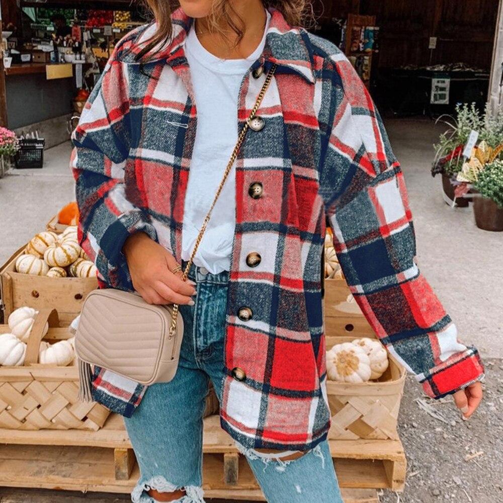 Plaid Women Oversize Woolen Shirts 2021 Fashion Ladies Soft Thick Shirt Party Female Elegant Loose Tops Vintage Girls Chic Shirt