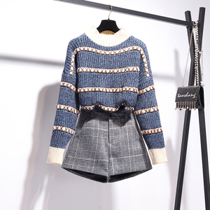 Image 3 - Autumn Winter Pullover Knitted Top Plaid Skirt 2pcs Sets Striped Long Sleeve Sweater+High Waist Plaid Shorts Two piece Sets