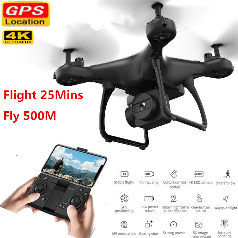 Smart RC Drone with Camera 4K Mini Drone Adjustable Wide Angle 5G WIFI GPS Gesture FPV RC Quadcopter Dron VS S167 SG907