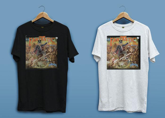 New Elton John Captain Fantastic Logo White Black Mens T-shirt Shirt XS - 2XL T-Shirt Men Clothing
