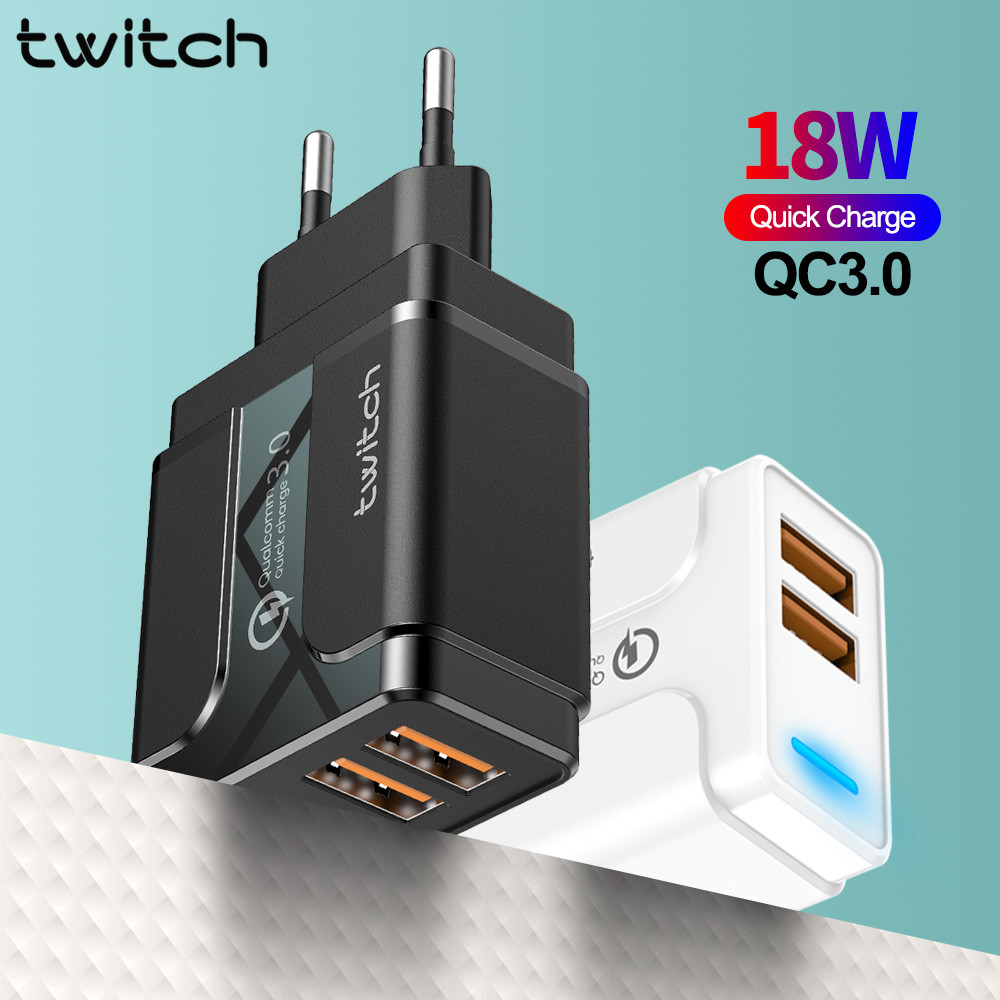 Twitch Quick Charge 3.0 USB Charger EU Wall Mobile Phone Charger Adapter for iPhone X 7 8 QC3.0 Fast Charging for Samsung Xiaomi