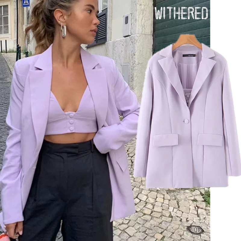 Withered Purple Blazer Feminino Blazer Mujer 2019 Women Blazers And Jackets High Waist Shorts Women Short Feminino 2 Pieces Set
