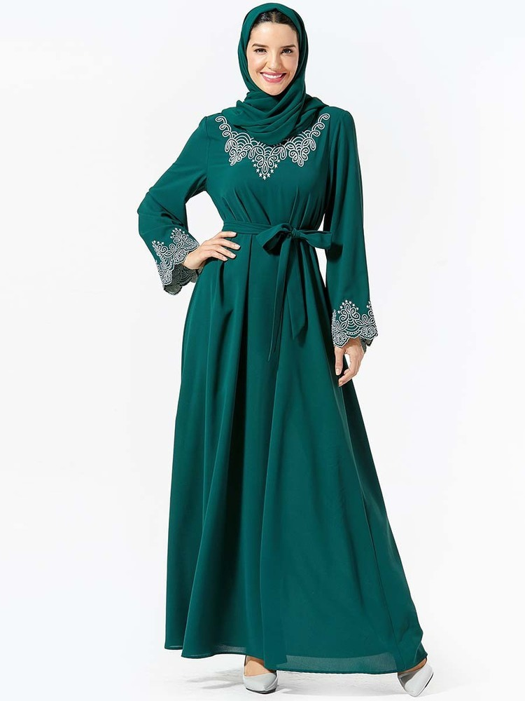 Arab Women's Ramadan Wear Embroidery Belt Muslim Dress Long Abaya Dubai  (Excluding Headscarf) Kaftan Caftan Abayas For Women