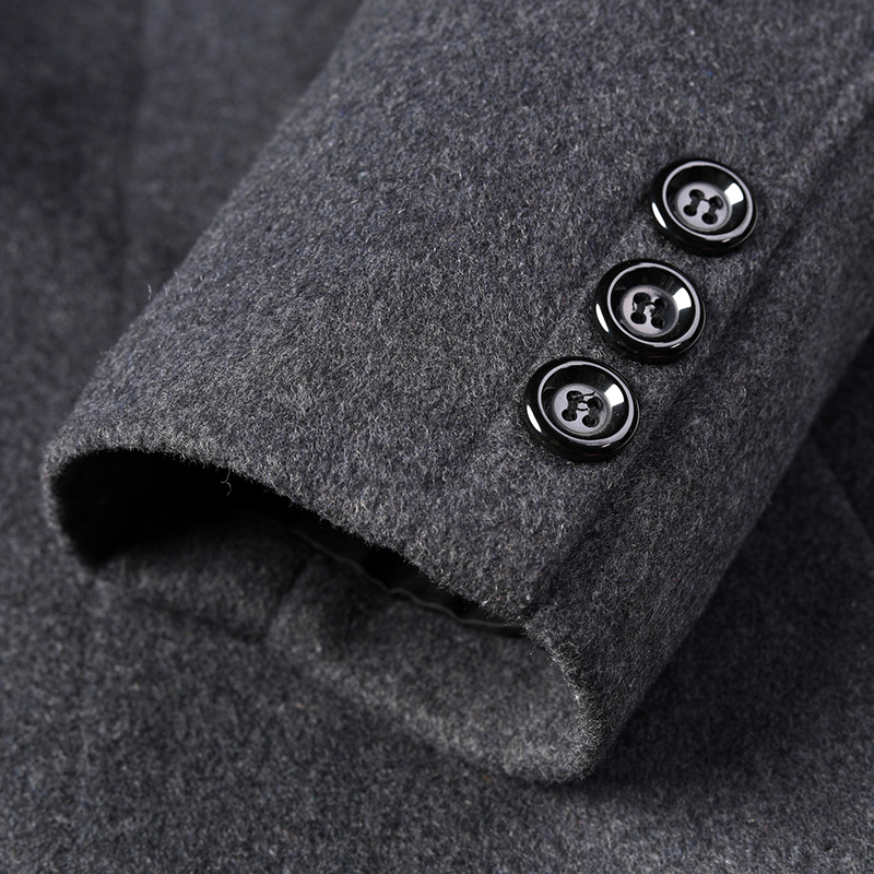 8XL 6XL 5XL Wool Blend Men's Coat Woollen Overcoat Winter Autumn Men Coat Fashion Brand Clothing Lined Warm Woolen Overcoat Male - 5