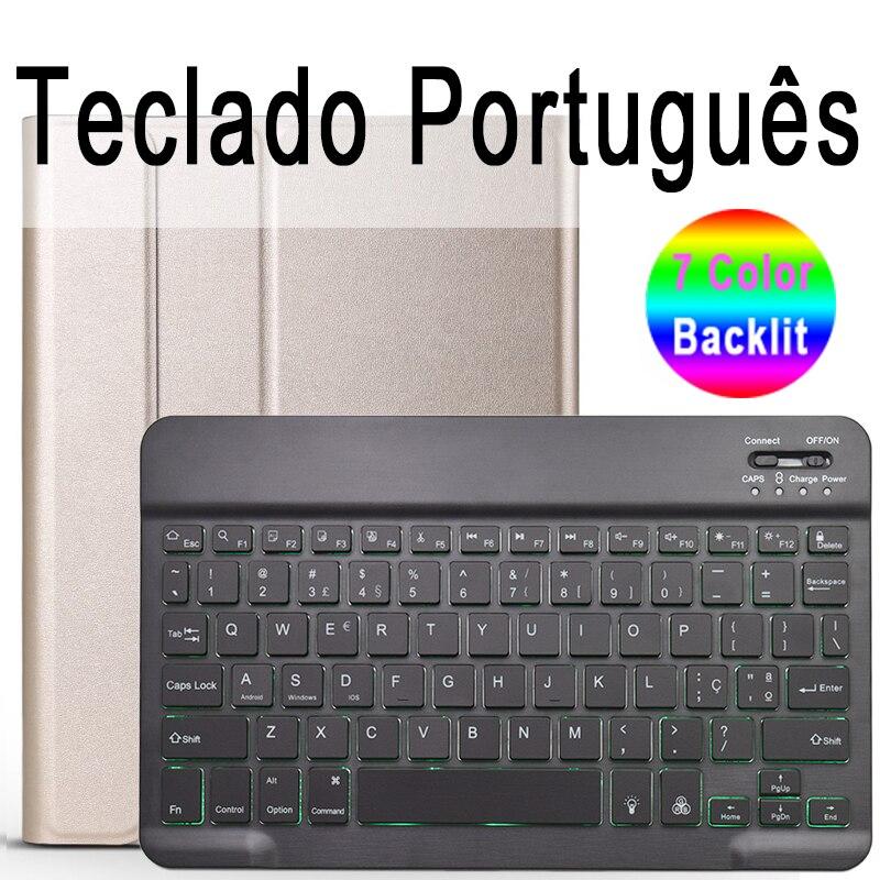 Portuguese Keyboard Salmon Pink 7 Colors Backlit 3 0 Bluetooth Keyboard Case for iPad 10 2 Keyboard Case for Apple