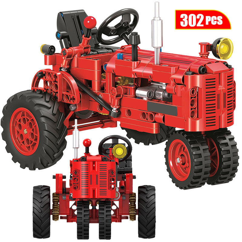 City Classic Retro Tractor Car Model Building Block Technical DIY Walking Tractor vehicle Brick Educational Toys for Children