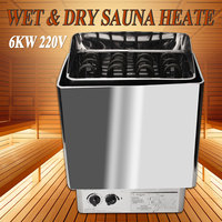 220V 6KW Sauna Heater Stove Wet Dry Stainless Steel Internal Control Home Bath Spa Relaxes Tired Weight Loss