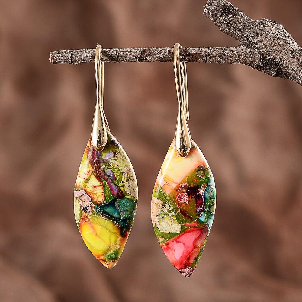 Цветные Серьги-Крючки с камнями, эффектные женские ювелирные изделия в стиле бохо