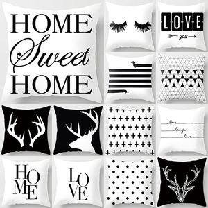 Black White Geometric Letter Polyester Cushion Cover Throw Pillow Car Home Decoration Sofa Bed Decorative Pillowcase 40525