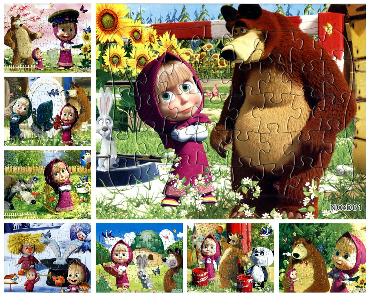 2pcs/lot Planar Puzzle 40Pieces Paper Martha And Bear Story Puzzles Jigsaw Puzzle Toy Kids Educational Toys Puzzles For Kids Toy