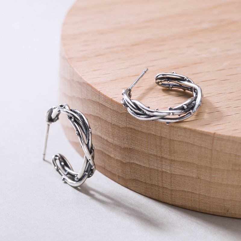 925 Sterling Silver C Shape Stud Earrings Tree Vine Vingtage Thai for Women Fashionable Girls Jewelry Charm
