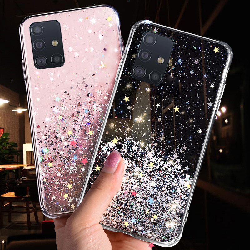 Phone Case for Samsung Galaxy S20 Ultra S10 S9 S8 Plus Note 10 Pro A51 A71 A81 A91 A10 A20 A30 <font><b>A50</b></font> A70 Bling Glitter Star Cases image