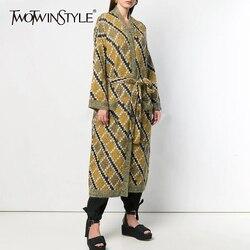 TWOTWINSTYLE Elegante Plaid Gebreide vrouwen Vesten Lange Mouw Hoge Taille Lace Up Vrouwelijke Truien Herfst Mode Kleding 2019