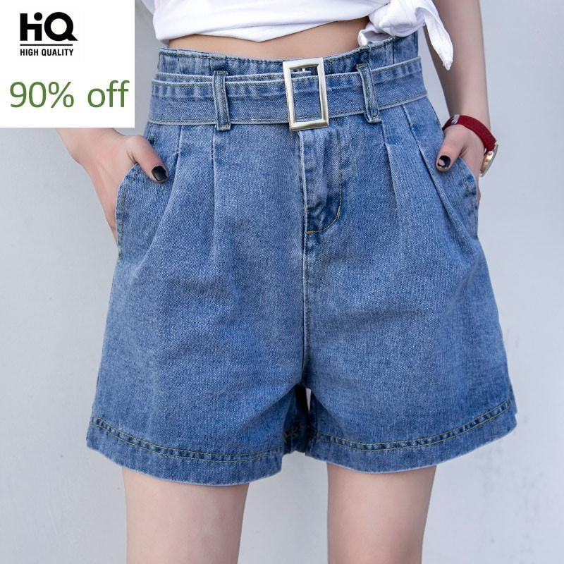 New Fashion 2020 Summer High Waist Womens Denim Shorts Harajuku Casual Loose Fit Female Trousers Streetwear Korean Style Jeans