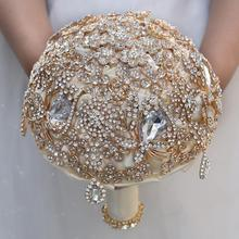 Brooch Bouquet Rose-Flowers Bride-Wedding-Bouquets Bridal Mariage Crystal Handmade Custom