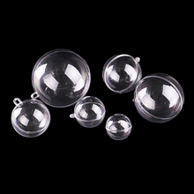 DIY Christmas Tree Hanging Ornaments Transparent Plastic Hollow Ball Holiday Xmas Party Gift Candy Box Fillable Clear Balls 3pcs