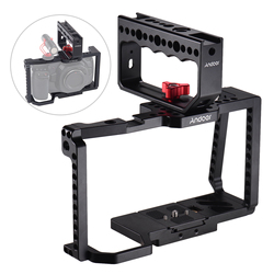 Andoer Camera vlog Cage with Top Handle Grip Video Film Making Cold Shoe Mount 1/4 Inch 3/8 Inch Screw Holes Quick Release Plate