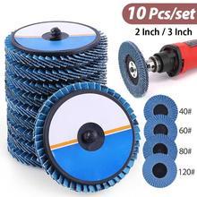 10 PCS 2/3In 40/60/80/120 Grit Roll Lock Flap Disc Grinding Sanding Wheel Transverse Louver Button Type Polishing Sheet