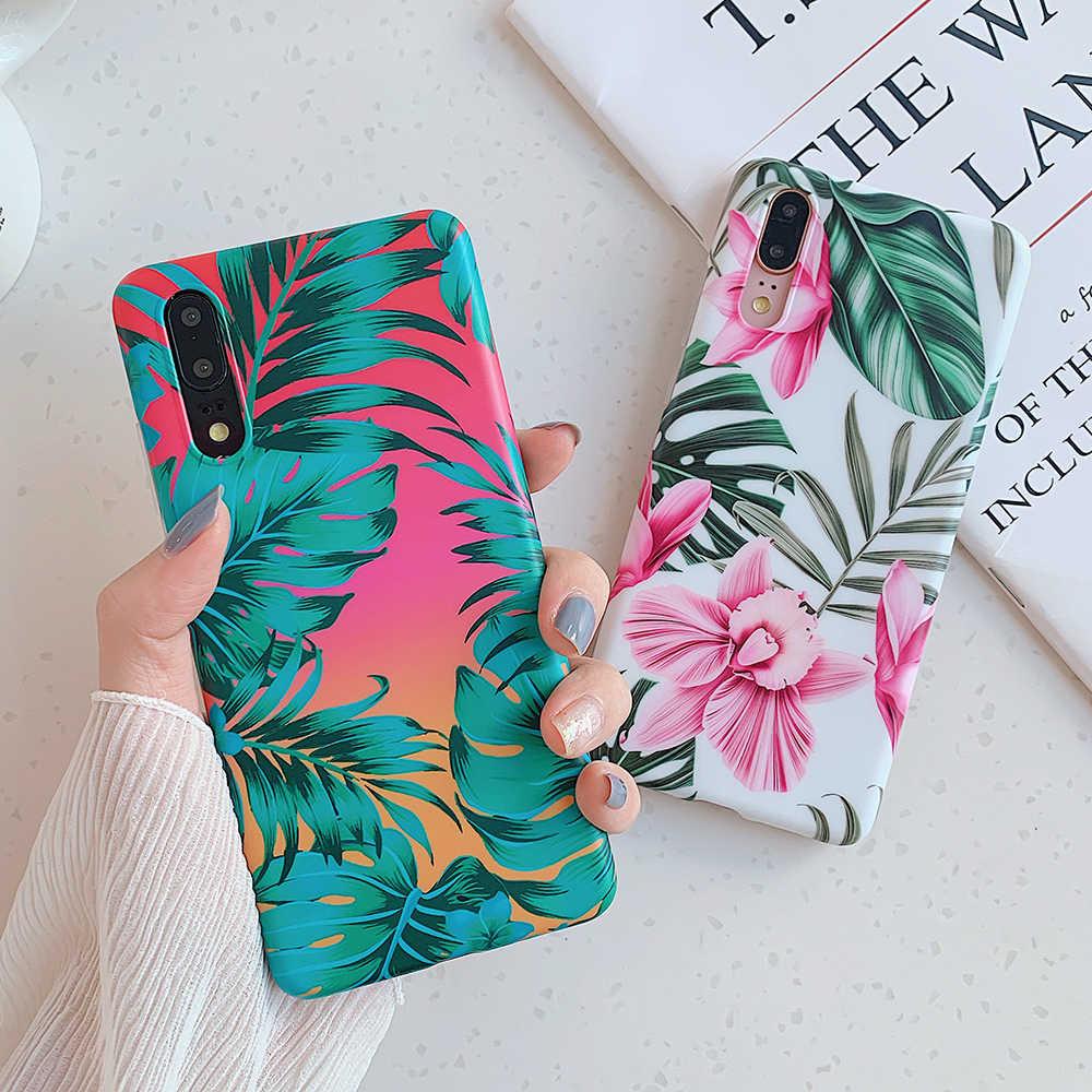 Retro Floreale Foglia Cassa Del Telefono per Huawei Compagno di 30 Lite Compagno 30 Pro P20 P30 Lite Compagno di 20 Pro P20 p30 Pro Caso Molle Imd Copertura Del Telefono