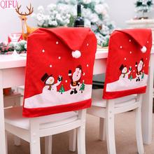 QIFU Merry Christmas Ornaments Decorations For Home 2019 Navidad Dining Chair Covers Santa Claus Noel New Year Gift