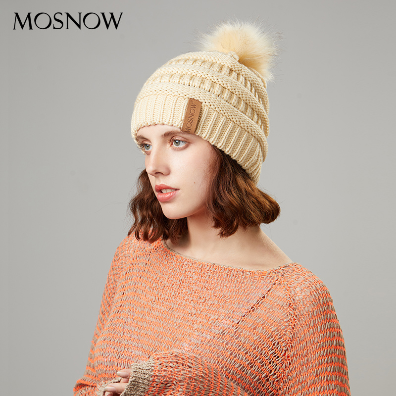 Women Knitted Beanies Winter Acrylic Solid Color Female Hats With Tags New Brand Hat With Pompom Warm Fur Ball Beanie Bonnet