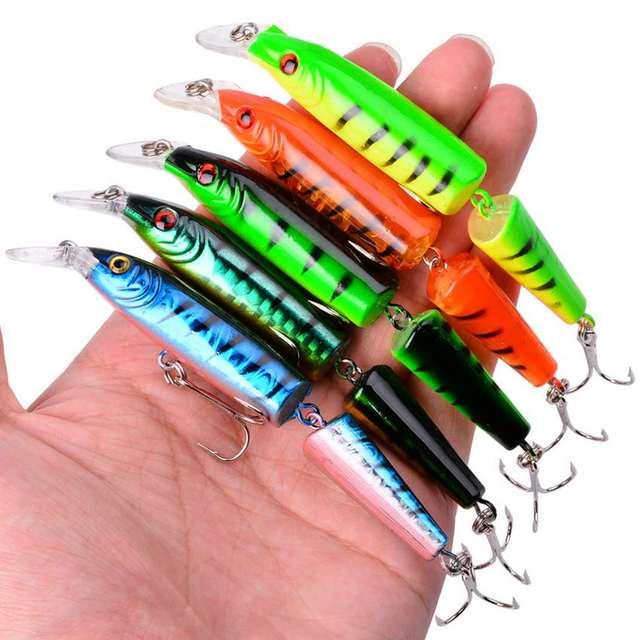 5pcs Minnow Fishing Lure 9g 10.5cm Multi Jointed Sections Crankbait Hard Bait