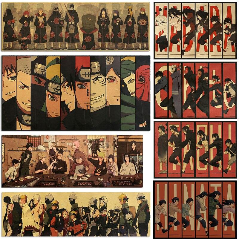 AIMEER Vintage Anime Ninja Akatsuki Characters Collection Style C Kraft Paper Poster Retro Dormitory Decor Painting 51x36cm