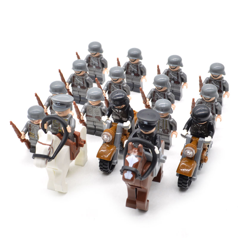 16pcs/set WW2 DE Army Troops With Horses Motorcycle Military Soldier And Officer With Weapons Building Blocks Brick Toys For Kid