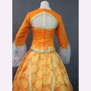 Image 5 - Top Quality 2019 Movie Aladdin Jasmine Princess Orange Dress Women Girl Halloween Party Cosplay Costume Arabian Royal Gown Dress