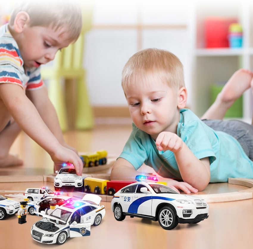 1:32 polizia-di Serie Auto FORD RANGER X7 Ambulanza TOYOTA LAND CRUISER Auto Modello Fonde Sotto Pressione Suono Luce Incandescente Giocattolo Del Capretto auto Di Natale