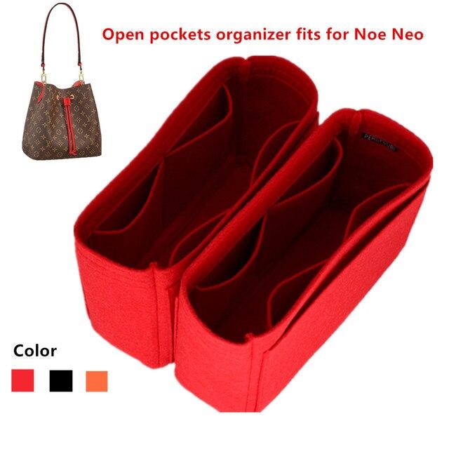 Se adapta a Neo noe, bolsas de inserción, organizador de maquillaje, organizador abierto, monedero interior de viaje, moldeador de base de cosméticos portátil para neo noe