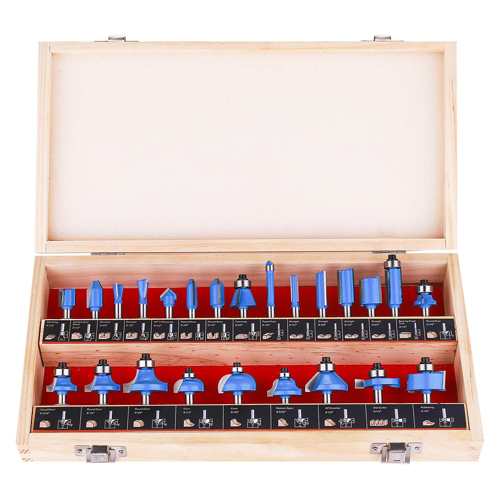 24pcs 1/4 Inch Carbon Steel Shank Router Bit Set Tongue and Groove Set T Shape Wood Milling Cutter Plywood Compact Panel   11