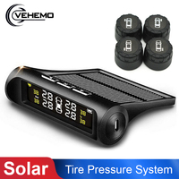 Solar Power Smart Car TPMS Tyre Pressure Monitoring System Digital LCD Display TMPS Auto Tire Pressure Security Alarm Systems