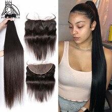 28 30 40 дюймов прямые пряди волос с кружевной застежкой бразильские человеческие волосы плетение 3 4 пряди предложения и 13X4 кружевной фронтальный Remy